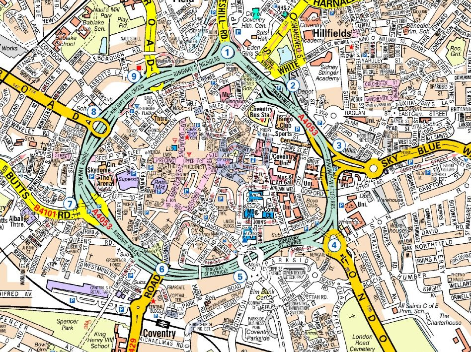Map Of Coventry Coventry A   Z Wall Map Map Of Coventry